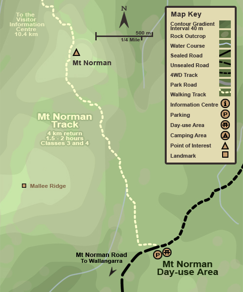 Map showing the Mt Norman Day-use Area