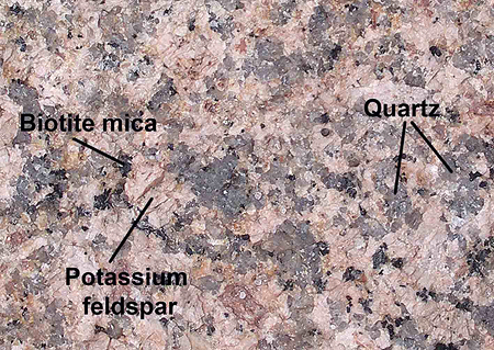 The minerals in granite.