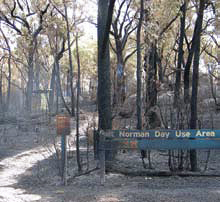 The burnt Mt Norman day-use area.