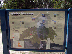 The information sign about all the park's walking tracks is easy to find in the centre of the day-use area.
